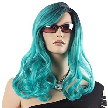 Amazon Com Turquoise Ombre Wig Cyan Green Dark Roots Mid Length
