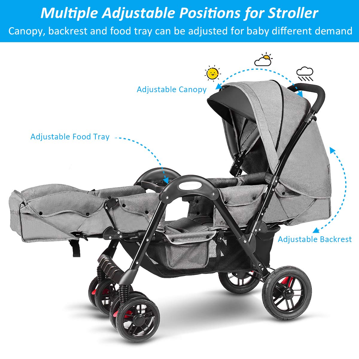 Costzon Double Stroller, Baby Face to Face Carriage with Sleep/Sit/Recline Seat, 5-Point Safety Harness, Detachable Food Tray, Large Storage Space, Gray by Costzon (Image #3)