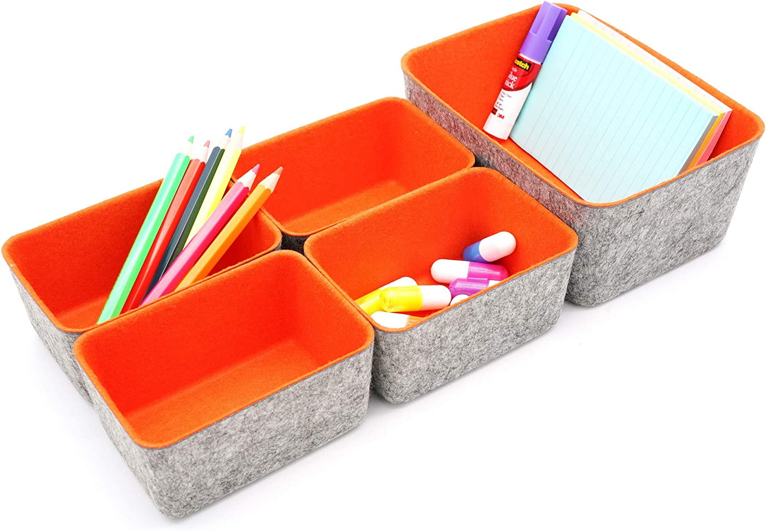 Welaxy office Drawer organizers bins Deep draw organiser Felt storage bin drawers Desk draw dividers boxes for toys makeup jewelery rolled ties organizing, 5 pack (Orange)