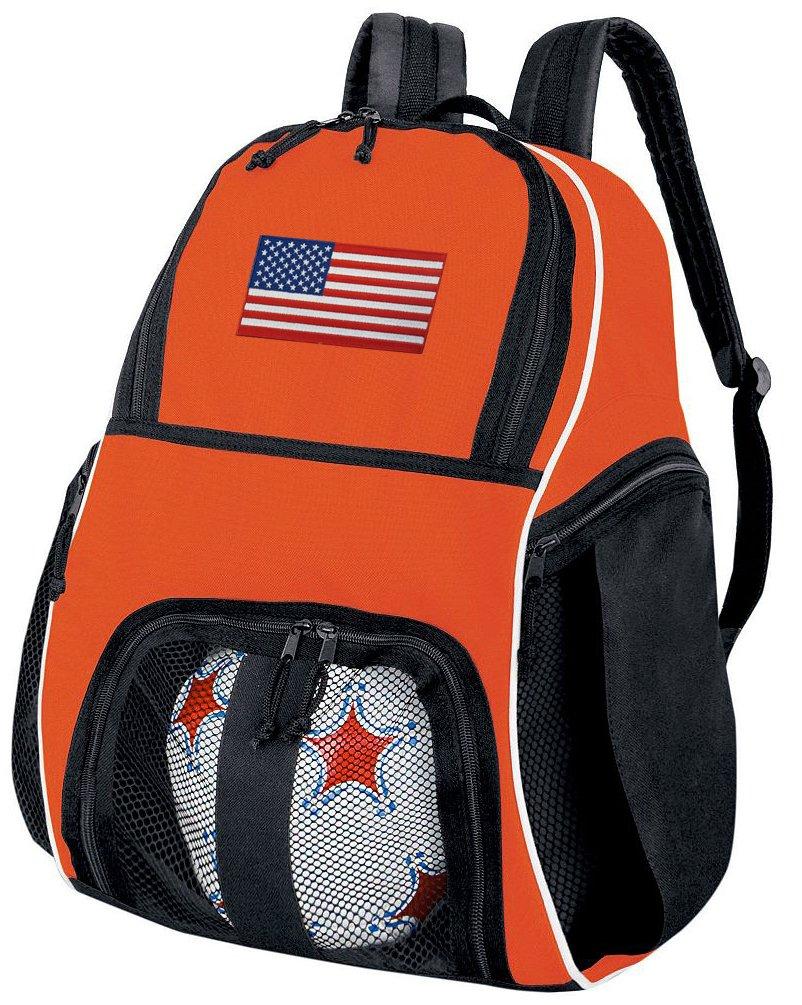 アメリカ国旗サッカーボールバックパックまたはバレーボールバッグオレンジ B01FXW44KG