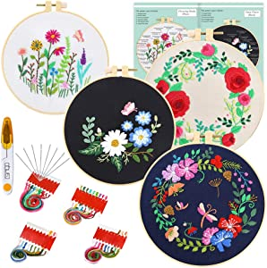 Caydo 4 Sets Embroidery Kit with Pattern and Instructions, 4 Plastic Embroidery Hoops, Embroidery Clothes with Floral Pattern, Color Threads and Tools
