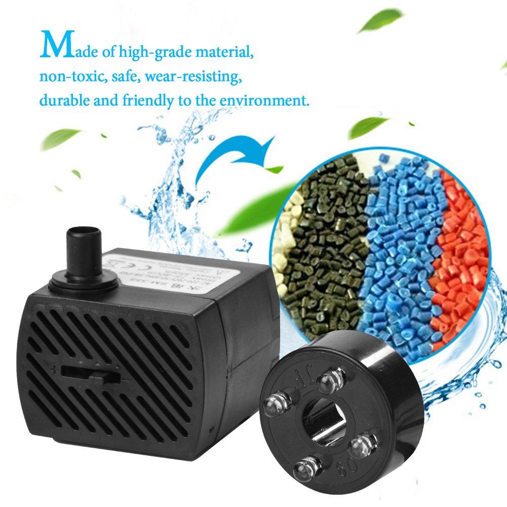 Pssopp Bomba de Agua Sumergible Ultra silenciosa Kit de Bomba de Fuente de luz LED Impermeable con Fuente de Tanque de Acuario de Estanque de Peces con luz LED 220/—240V