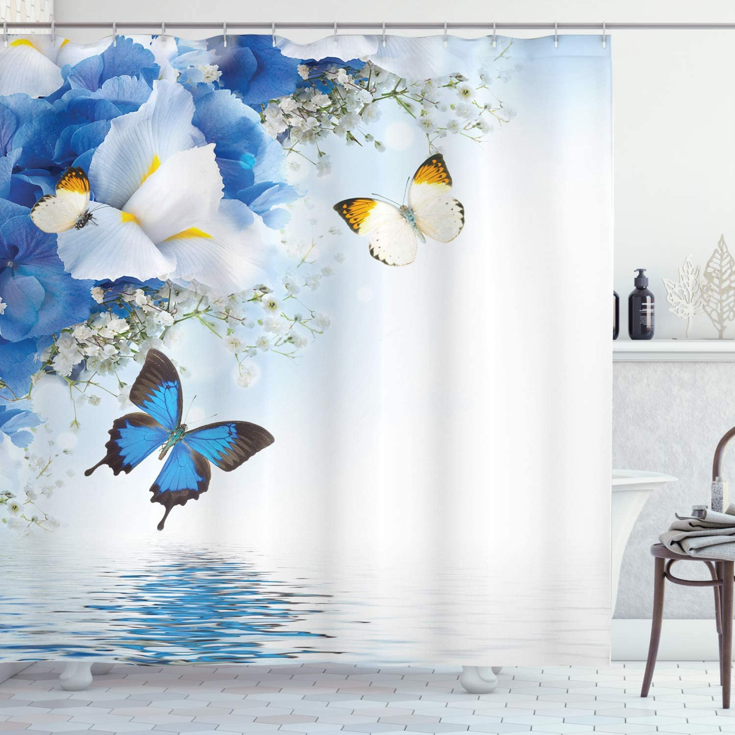 """Ambesonne Floral Shower Curtain, Nature Theme Wild Flowers Monarch Butterflies Lily on Lake Therapy Spa Art Prints, Cloth Fabric Bathroom Decor Set with Hooks, 70"""" Long, Blue White"""