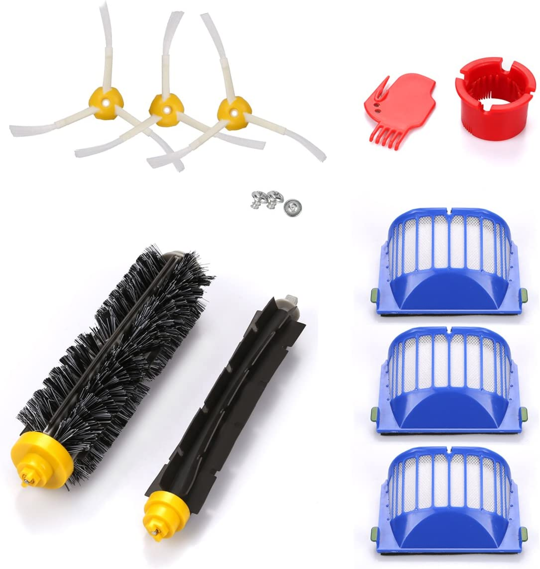 energup Accessory for Irobot Roomba 500 600 610 620 650 Series Vacuum Cleaner Replacement Part Include 3 Pack Filter, Side Brush, 1 Pack Bristle Brush & Flexible Beater Brush 718qrYSv2nL