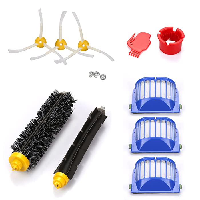 Energup Accessory for Irobot Roomba 500 600 610 620 650 Series Vacuum Cleaner Replacement Part Include 3 Pack Filter, Side Brush, 1 Pack Bristle Brush & Flexible Beater Brush