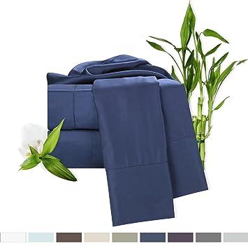 Bamboo Bed Sheet Set, Blue (Navy) Queen Size, By Clara Clark,