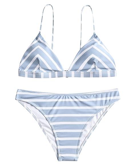 8bd69c32fbc05 ZAFUL Women s Sexy Striped Bikini Set Padded Spaghetti Strap Swimsuit  Triangle Bathing Suit(White