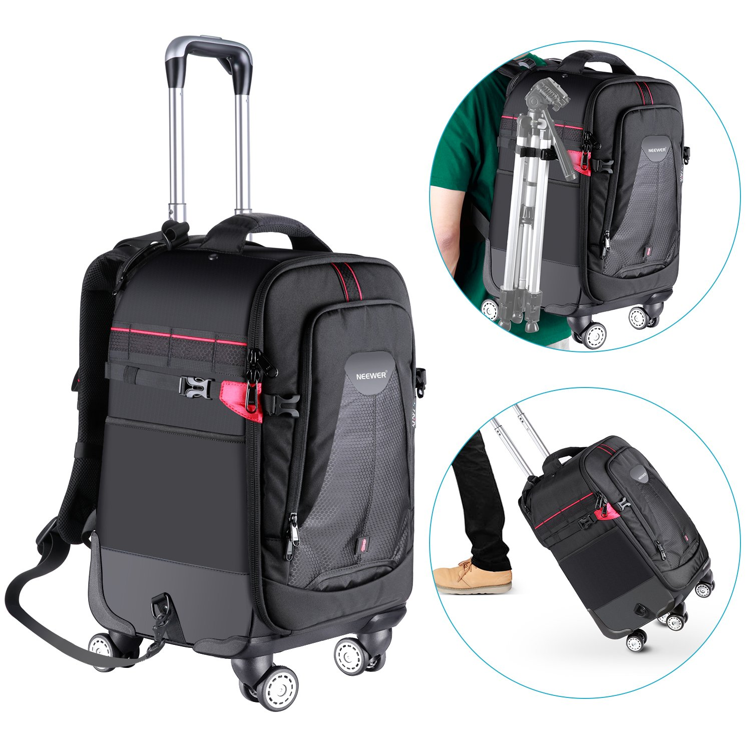 Neewer 2-in-1 Rolling Camera Backpack Trolley Case with Side Handle- Anti-shock Detachable Padded Compartment, Hidden Pull Bar, Durable, Waterproof for Camera,Tripod,Flash Light,Lens,Laptop(Black) 10092972