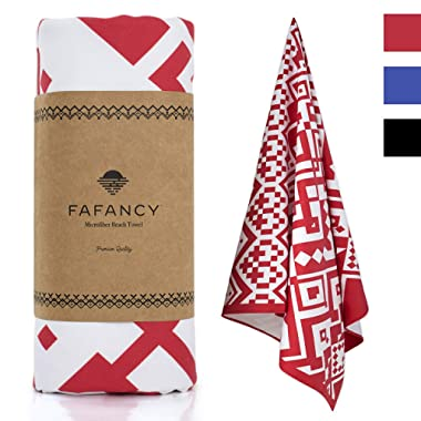 FAFANCY Oversized Microfiber Beach Towel 36x63 - Quick Dry, Sand-Free, Compact, Super Absorbent Swim Towel for Adults and Kids - Large Thin Blankets for Swimming Pool, Camping, Sports (Red)
