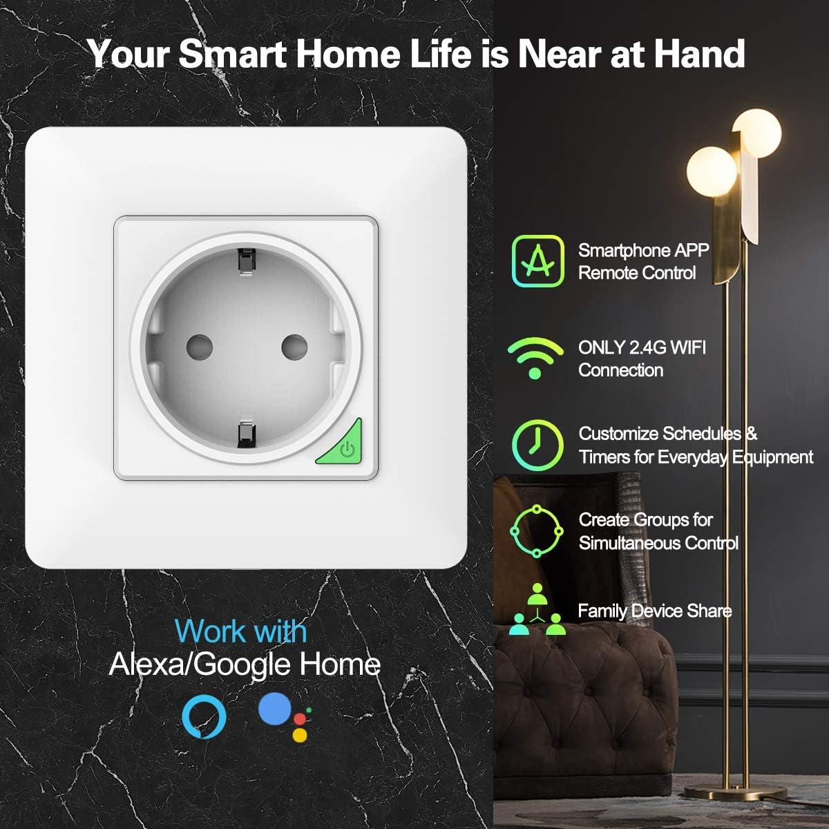 T/él/écommande APP 1 PACK Prise Murale Int/égr/ée Intelligente WIFI Compatible avec Alexa//Google Home//Siri Raccourcis Commande Vocale Orbecco WiFi Smart Prise Intelligente WiFi 16A