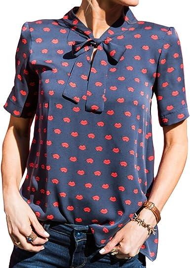 Verano Camiseta para Mujer, Moda Manga Corta Blusa Elegante Labio ...