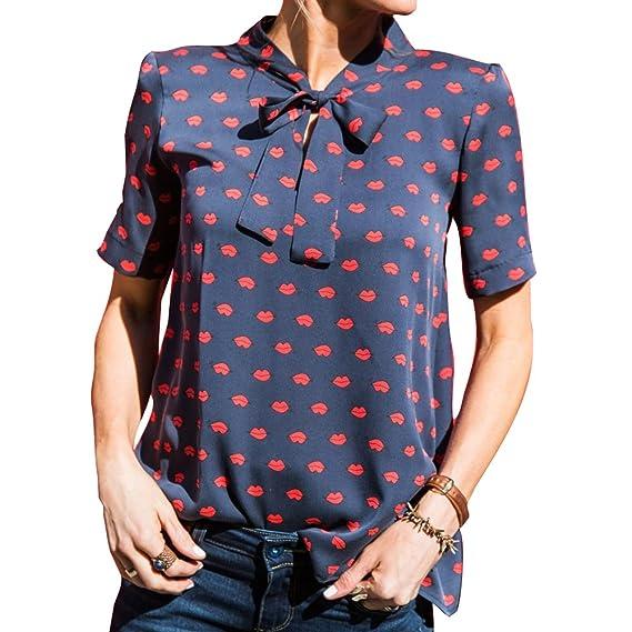 Yuxin Mujer Verano Camiseta Moda Manga Corta Blusa Elegante Labio Impreso Camisetas con Corbata de Moño
