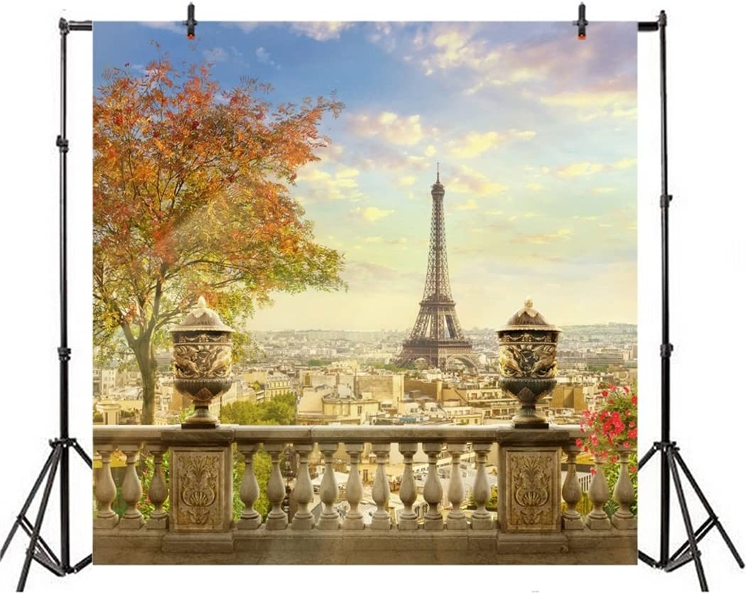 10x6.5ft Autumn Watercolor Effiel Tower Backdrop Beautiful Fall Scenery Coloring Trees Paris Landmark Photo Background for Portraits Travel Party Photo Studio Props