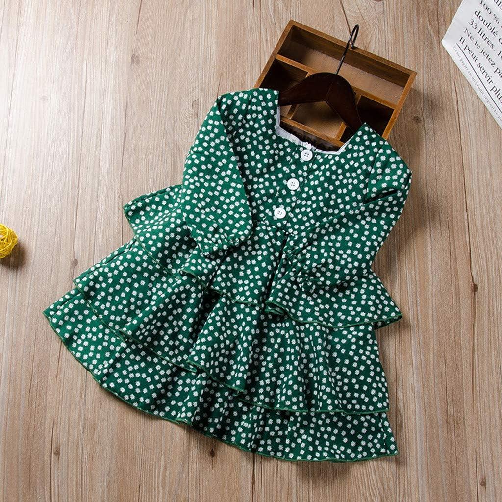 gr/ün Blumendruck Anzug Kleidung geeignet f/ür M/ädchen Kleider Kleidung Kleidung Kinderkleidung 1-6 Jahre altes Kleinkind M/ädchen Baby Langarm Prinzessin Rock