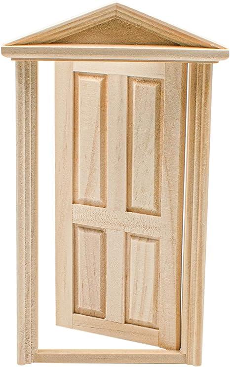 2 Horizontal Panel 1:12 Dollhouse Miniature Furniture Unpaint Wooden Doors for DIY Scene Doll Home Furniture Craft AUEAR