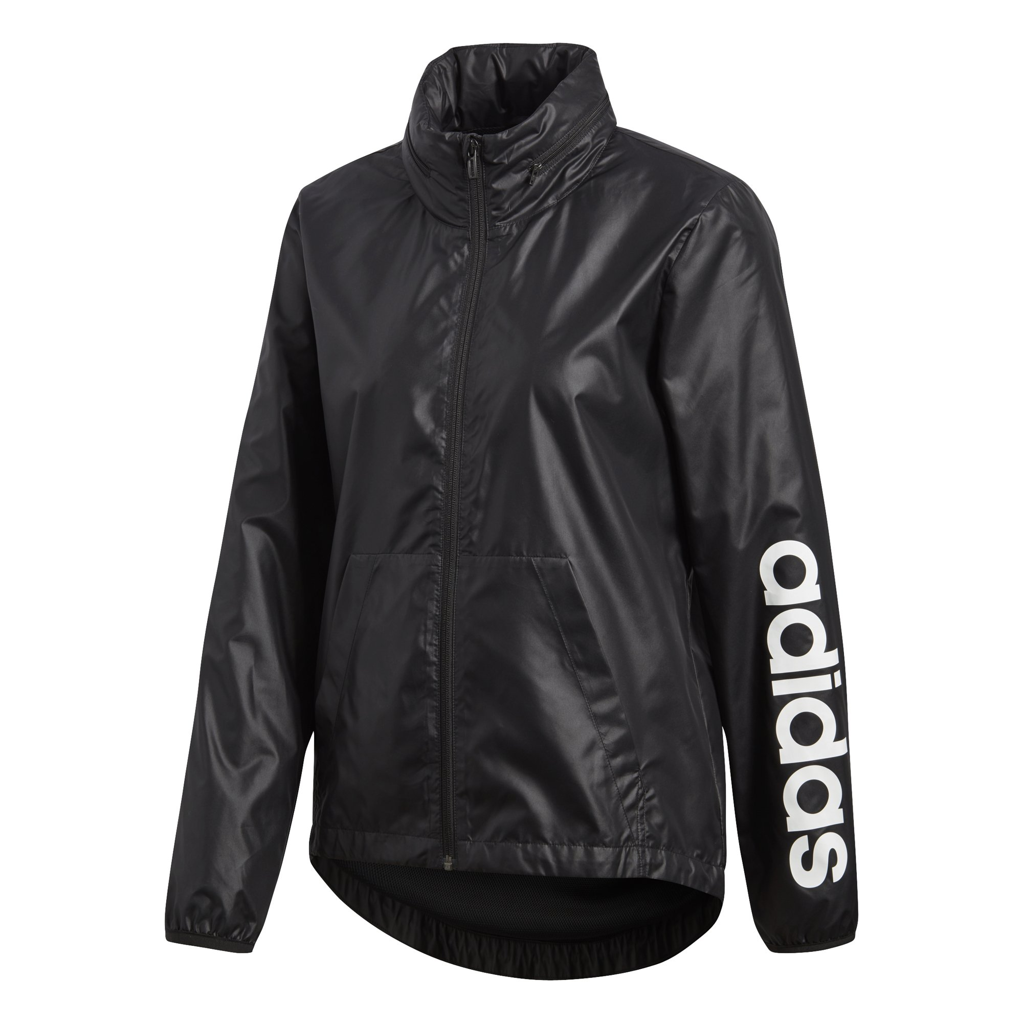 adidas Women's Linear Windbreaker Jacket, Black, X-Small