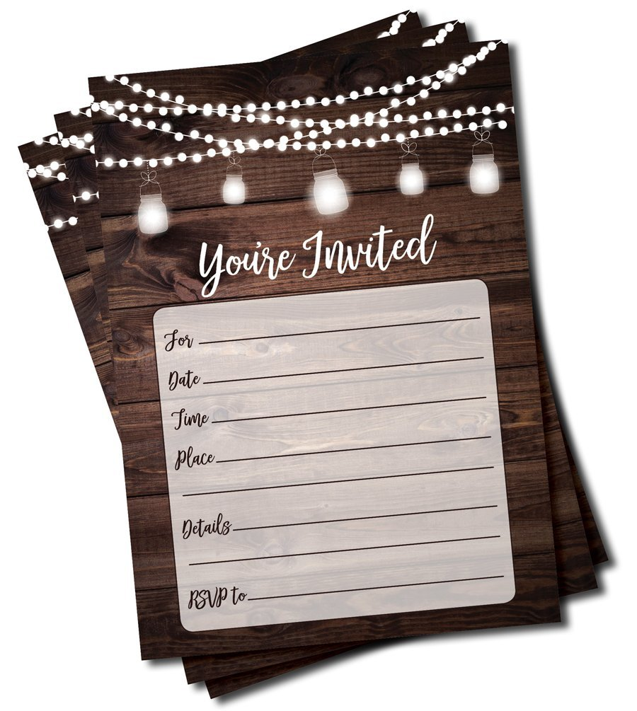 Rustic Invitations and Envelopes (Large Size 5x7) - Wedding - Engagement - Birthday Party - Baby Shower - Any Occasion - Wood and Lights (50 count)