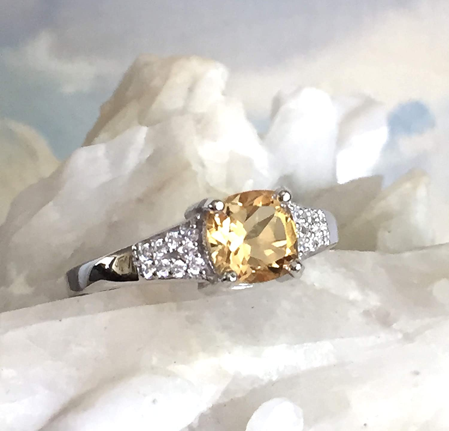 Gemstone Jewellery Natural Citrine Citrine And White CZ Ring 925 Sterling Silver Yellow Citrine Ring