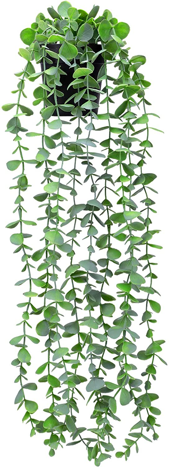 Funarty Fake Plants Small Artificial Hanging Plants Fake Eucalyptus Potted Plants Faux Greenery Vine Plant with Black Pot for Home Indoor Outdoor Décor