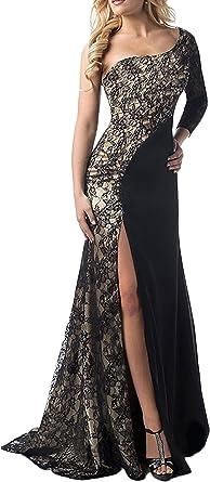 Vestiti Eleganti Amazon.Vestiti Donna Eleganti Vintage Manica Lunga Obliquo Una Spalla