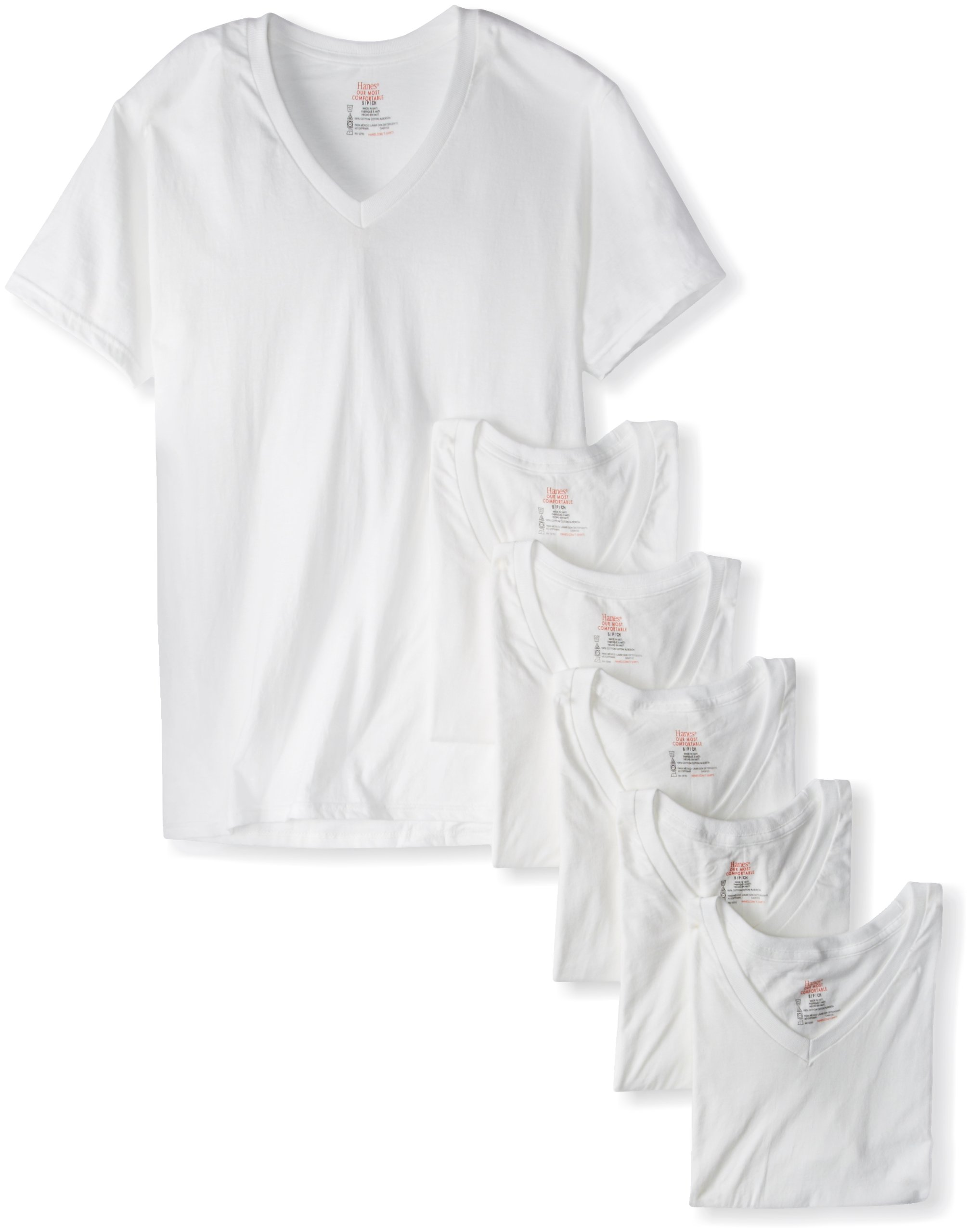 Hanes Ultimate Men's 6-Pack FreshIQ V-Neck Tee, White, Large by Hanes Ultimate (Image #1)