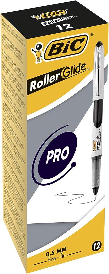 BIC Roller Glide PRO bolígrafos punta fina (0,5 mm) - Negro, Caja ...