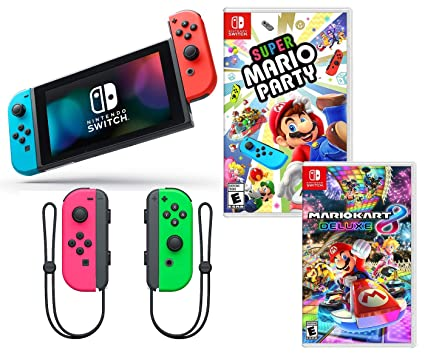 d1a575dd4de6 Nintendo Switch Super Mario Kart   Party Bundle  Nintendo Switch with Neon  Red and Blue