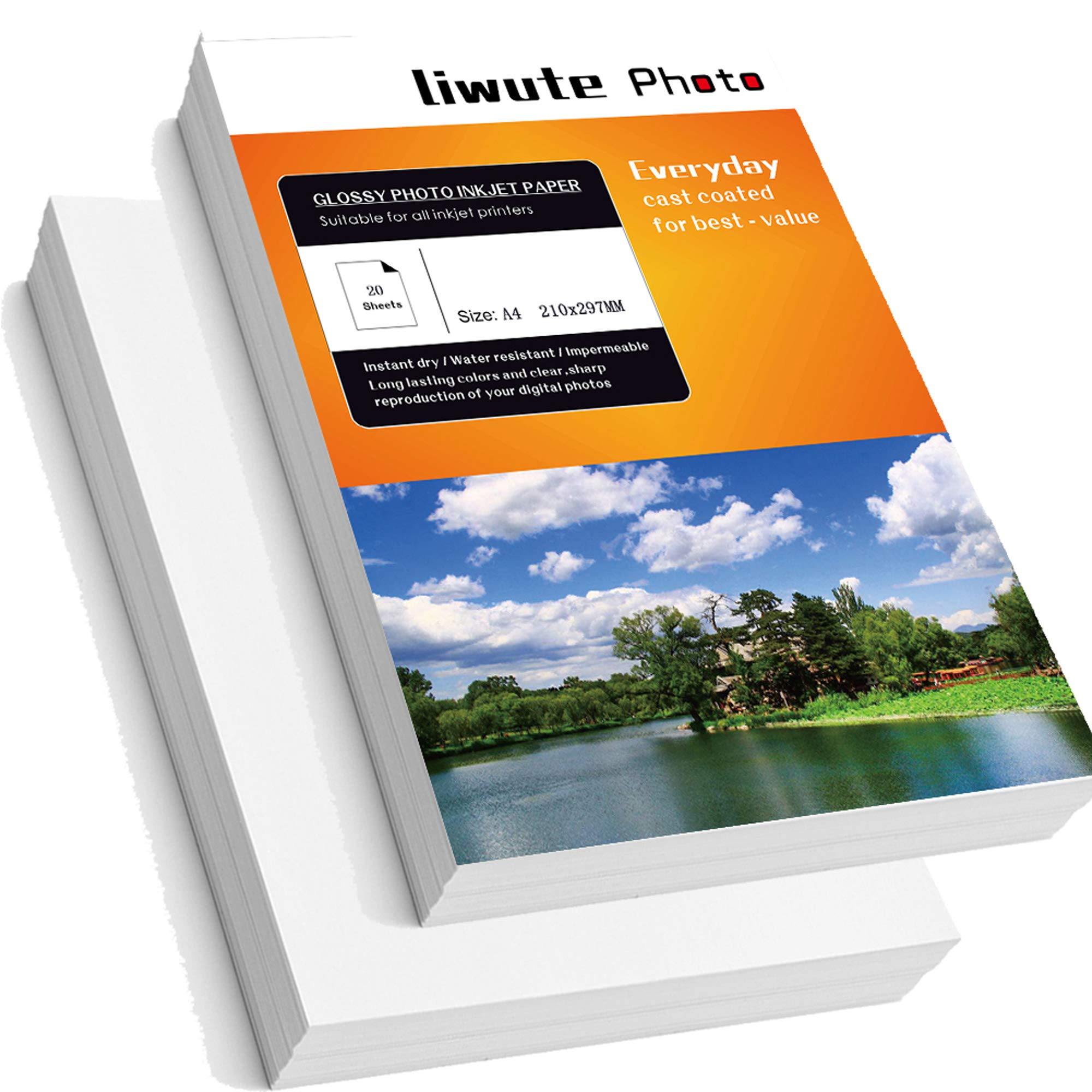 LIWUTE Double Sided Glossy Photo Paper,Dries Immediately,Double-Sided Printfor, for Laser Printers, Professional Color Laser Printing Paper,A4, 11.7'' x 8.3'', 128 gsm,50 Sheets by LIWUTE