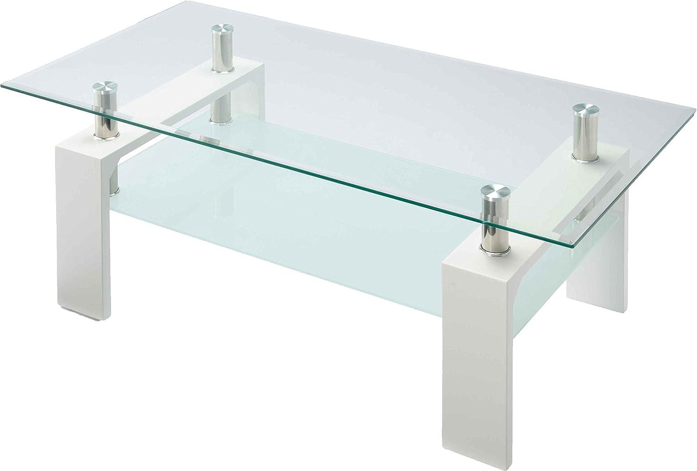 8mm厚天板のおしゃれなガラスリビングテーブル 幅96cm センターテーブル ローテーブル 応接セット 施設ロビー カフェテーブル ゴージャス VGT-100 (ホワイト) B01BL2AGJU