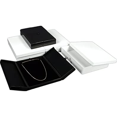 Findingking 3 Large Black Necklace Snap Lid Gift Boxes Display Box