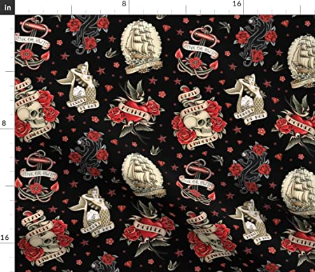 Tela de tatuaje tradicional, diseño de calavera negra de la vieja ...