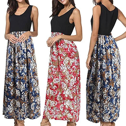 cf65709ed7 Image Unavailable. Image not available for. Color  Kangma Women Summer Boho  Sleeveless Casual Floral Party Beach Long Maxi Dress