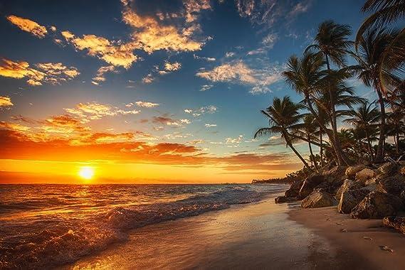 Beautiful Tropical Beach Sand Sea Landscape Giant Wall Art poster Print
