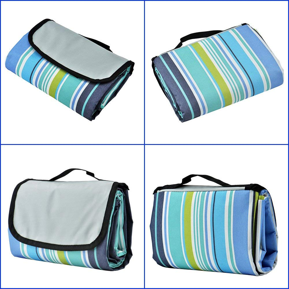 Waterproof Outdoor Picnic Blanket - Sand Proof Beach Mat - Striped Folding Summer Blanket - XL Queen Size 80 x 60 Inches - Fits 4 Adults or 6 Kids - Ideal for Parks | Beaches | Camping | Festivals