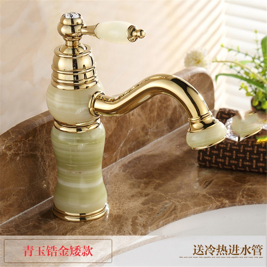 2 LHbox Basin Mixer Tap Bathroom Sink Faucet Po Lo bathroom European Natural Jade Fine Copper pink gold bathroom sink hot and cold can redate the faucet, white jade ORB color low)