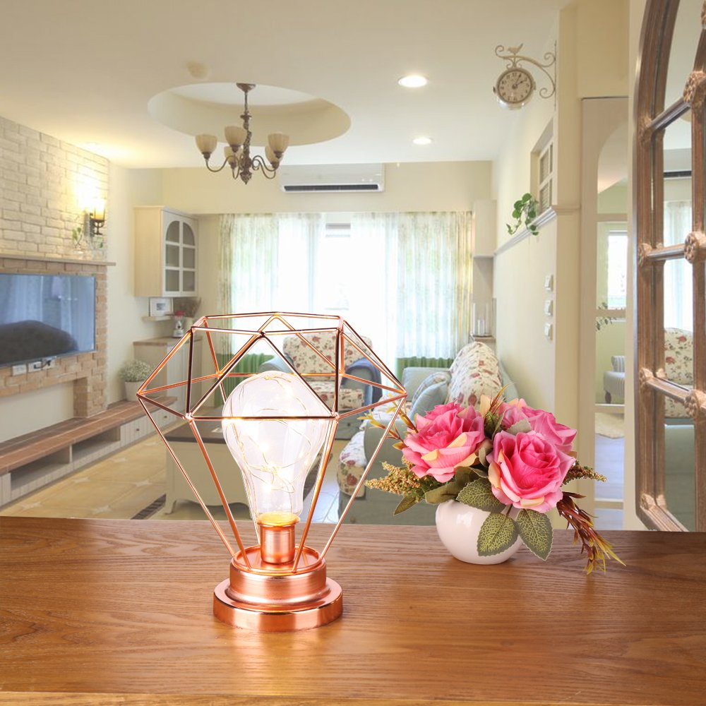 UK Nordic Style Table Lamp Diamond Shape Bedroom Bedside Lamp Battery Powered
