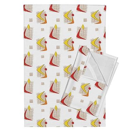 Roostery Boomerang Atomic Retro Geometric Design MCM Coca Cola Tea Towels  Boomerang #4 By Tonyanewton