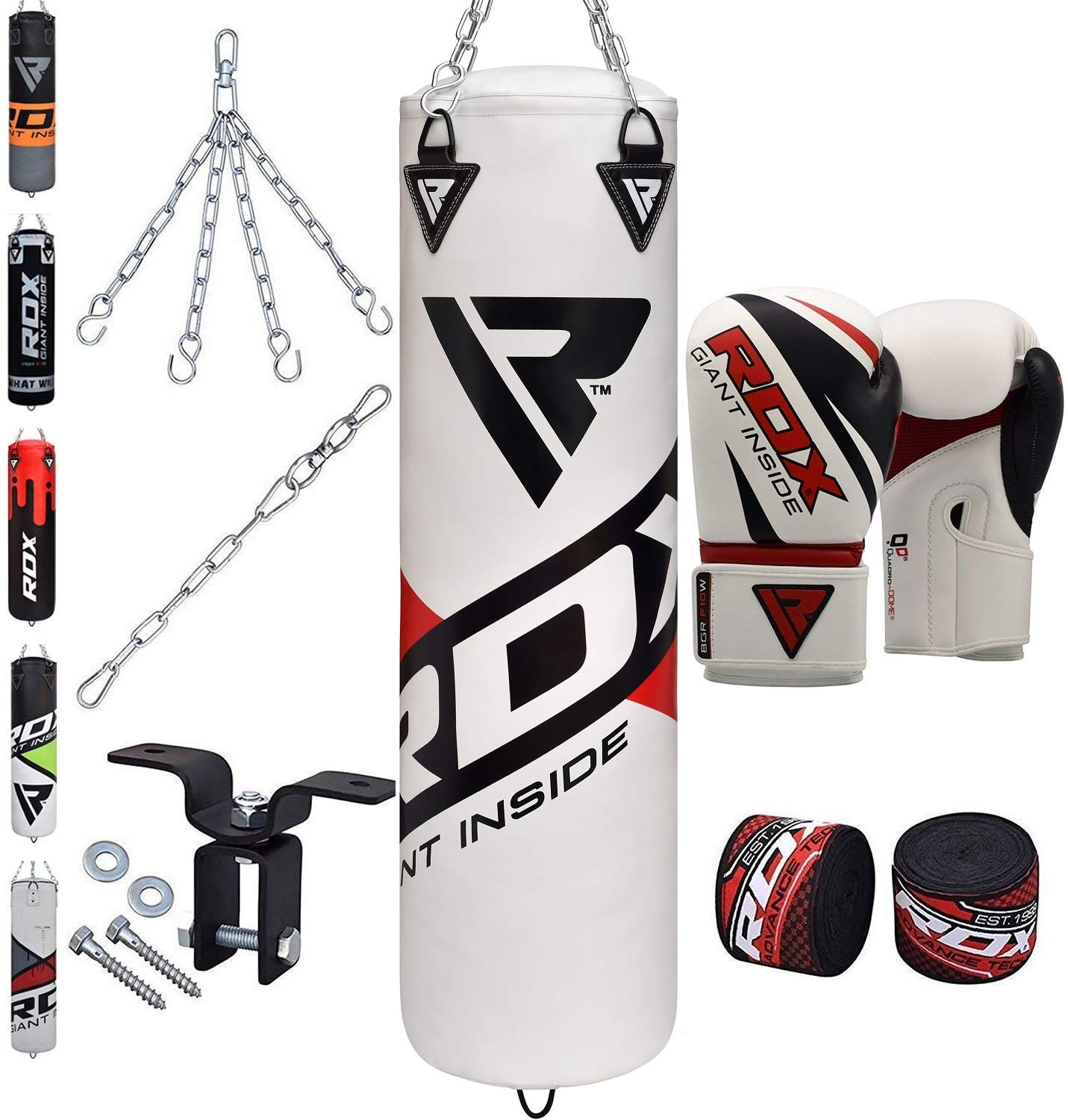 RDX Punch Bag Heavy Boxing 4FT 5FT Filled MMA Training Gloves Kickboxing Ceiling Hook 8PC Punching Bags