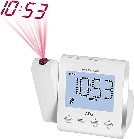 AEG MRC Radio Reloj 4122 F Radio con Blanco de proyección: Amazon ...