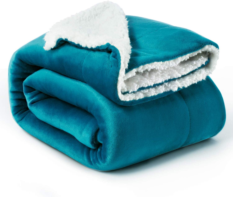 Bedsure Manta Reversible de Franela/Sherpa 150x200cm - Manta para Cama 90 de 100% Microfibra Extra Suave - Manta de Felpa Turquesa
