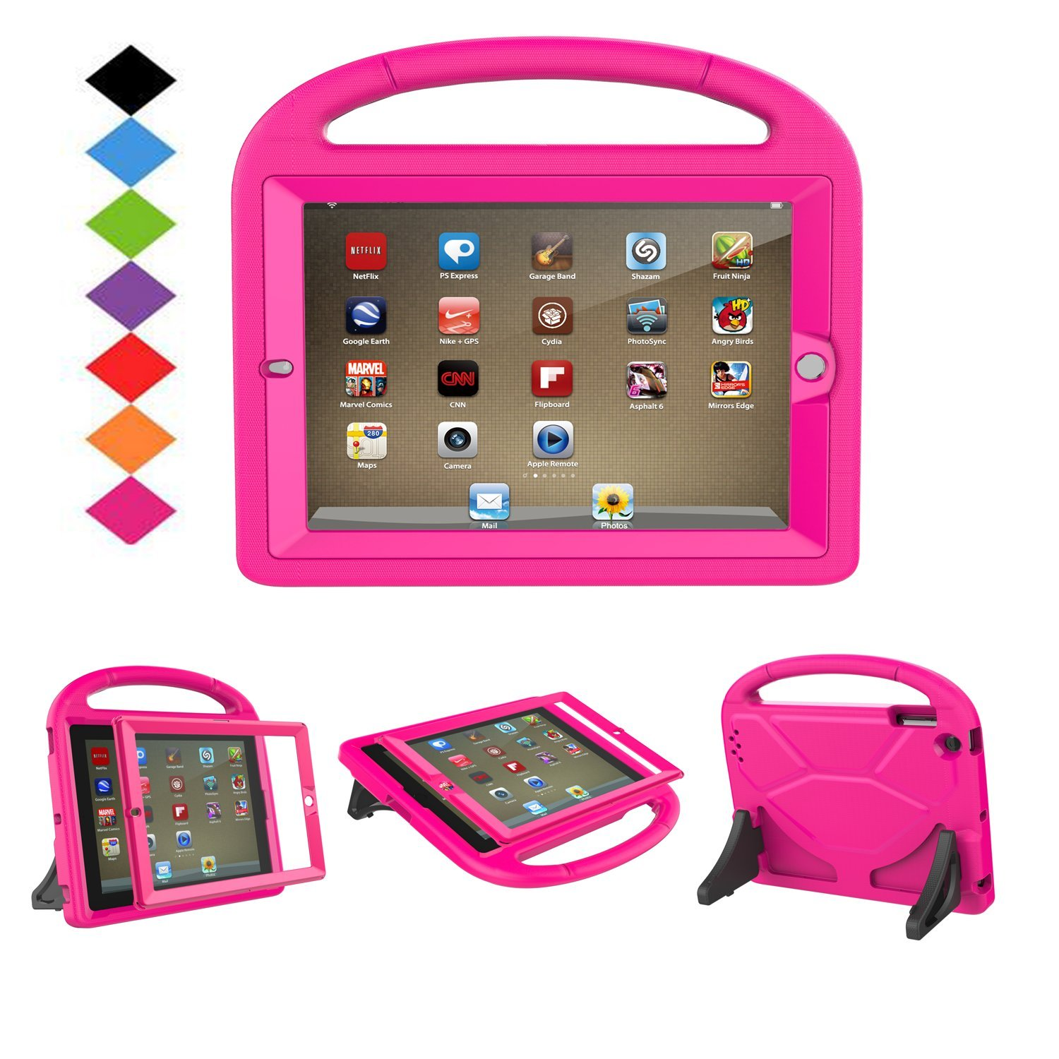 LTROP iPad 2 3 4 Kids Case - Light Weight Shock Proof Handle Friendly Convertible Stand Kids Case with Bulit in Screen Protector for iPad 2, iPad 3rd Generation, iPad 4th Generation,Rose by LTROP (Image #1)