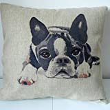 "Decorbox Cotton Linen Square Decorative Throw Pillow Case Cushion Cover Cute Dog 18"" x 18"""
