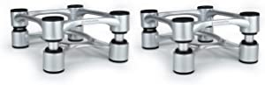 "IsoAcoustics Aperta Series Isolation Speaker Stands with Tilt Adjustment: Aperta (6.1"" x 7.5"") Silver Pair"