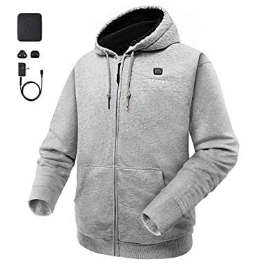 31ac80e1e753 Amazon.com  ororo Heated Hoodie with Battery Pack (Unisex)  Clothing