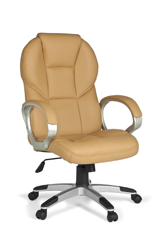 AMSTYLE Bürostuhl MATERA Bezug Kunstleder Caramel Schreibtischstuhl Design X-XL 120 kg Chefsessel Wippfunktion ergonomisch Polster Drehstuhl hohe Rücken-Lehne höhenverstellbar mit Armlehnen Hochlehner