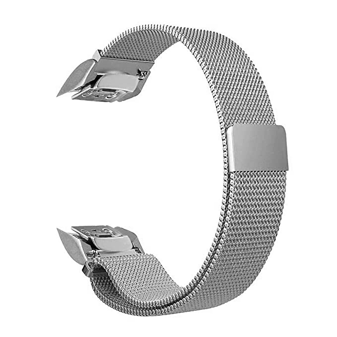 V-Moro Accessory Silver Milanese Loop Stainless Steel Band with Unique Magnet Clasp for Samsung Gear Fit 2 Fit2 SM-R360 Smart Watch 5.9