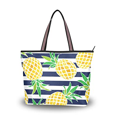05a2300c15 ALAZA Cute Summer Pineapple With Blue Stripes Large Tote Top Handle  Shoulder Bags Handbags for Women