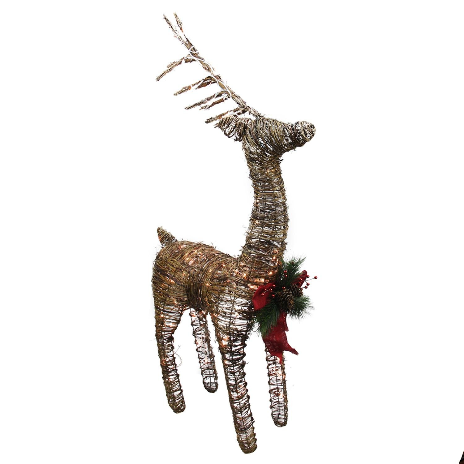 PENN 48'' Lighted Standing Rattan Reindeer with Red Bow and Pine Cones Christmas Yard Art Decoration, Clear