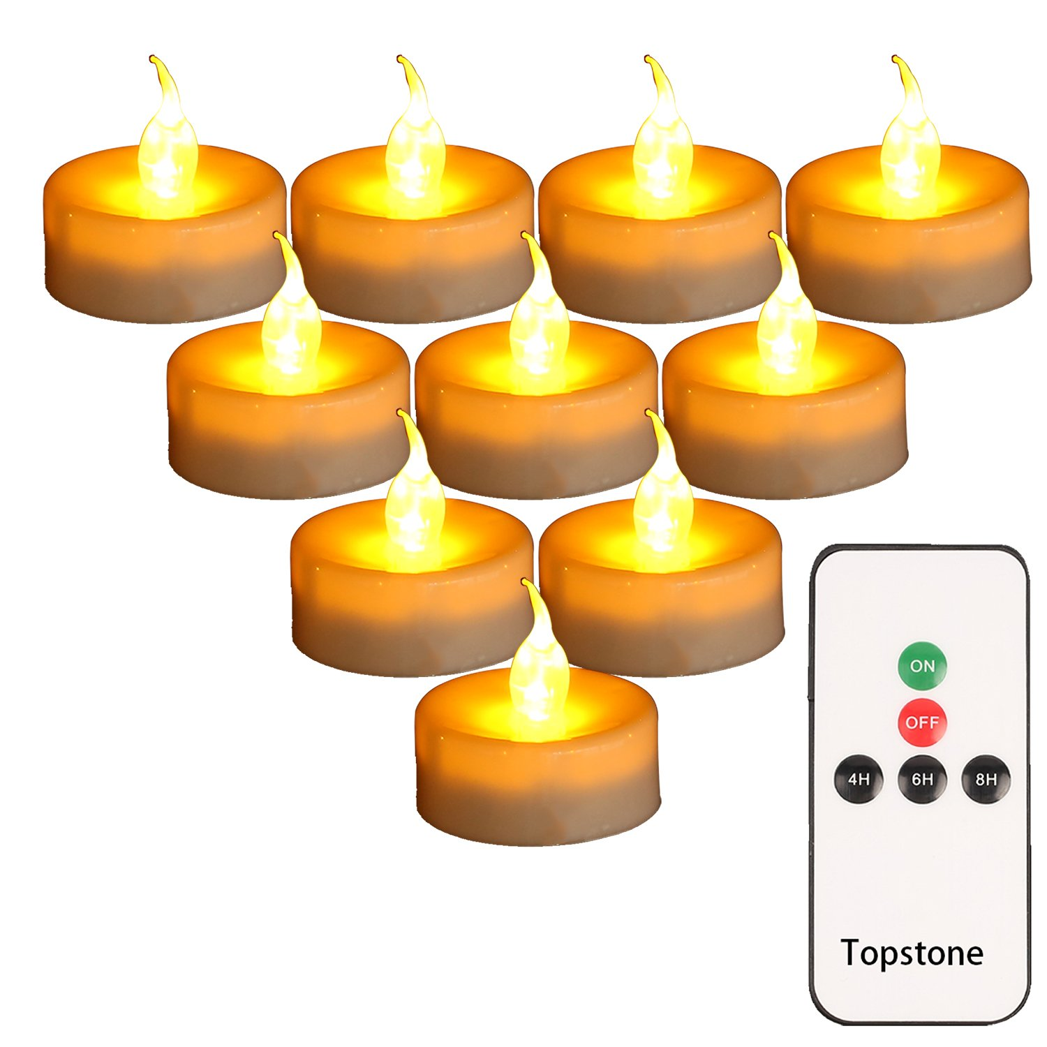 Topstone Pack of 24 LED Tealight Candles Powered by Long Lasting CR2450 Battery,Realistic Amber Flickering Bulb,Fake Candles with Remote Control and 4H 6H 8H Timer for Seasonal &Festival Celebration by Topstone