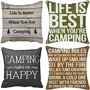 Emvency Set of 4 Throw Pillow Covers Life is When You Camping Camper Better are Round Best Decorative Pillow Cases Home Decor Square 18x18 Inches Pillowcases